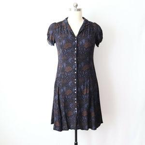 eddie bauer 12 petite plum floral shirt dress